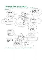 English Worksheets: introduction worksheet
