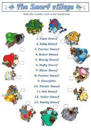 English Worksheets: Smurfs2 (Smurf Village) - 3pages