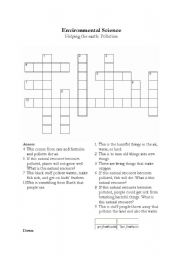 English worksheet: Science: Pollution - Crossword