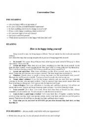 English Worksheets: Are you happy being yourself