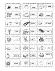 English Worksheet: food Dominoe game