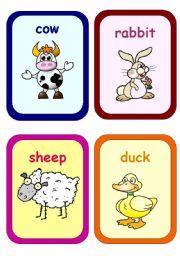 English Worksheets: farm animals flahcards
