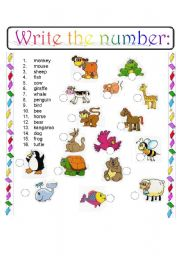 English Worksheet: Write the number_ANIMALS