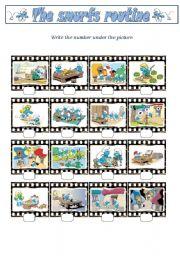 English Worksheets: Smurfs3 (Smurfs Routine)