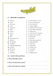 English Worksheets: OCCUPATIONS PART 1