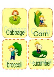 English Worksheets: Vegetables_Fruits Flashcards 1/2