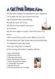 English Worksheets: Read about Sheila, from Buenos Aires. Then, answer the questions fully
