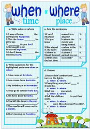 English Worksheet: when-where