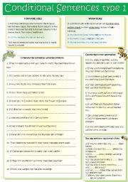 English Worksheet: Conditional Sentences type 1
