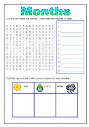 English worksheet: Months