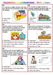 English Worksheet: TELEPHONE CONVERSATION - Role plays