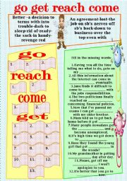 English Worksheets: go-get-reach-come