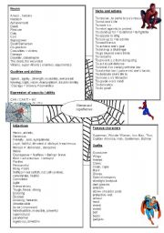 English Worksheet: word bank superheroes