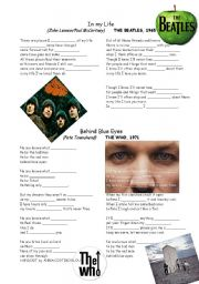English Worksheets: SONGS FOR TEACHING 1 BEATLES-WHO-ALAN PARSON�S PROJECT-U2