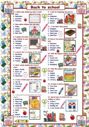 English Worksheet: Back to school - quiz for beginners
