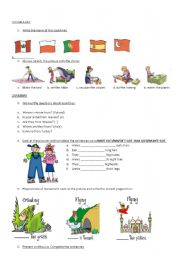 English Worksheets: revision countries- chores- present continuous- prepositions of movement- have got- erading- writing