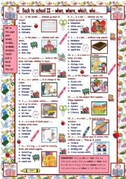 English Worksheets: Back to School II Quiz - who, which, where, when....