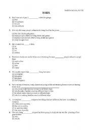 English Worksheet: TOEFL exercises