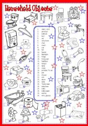 English Worksheets: Household objects � vocabulary worksheet � house objects and appliances � editable