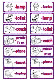 English Worksheet: Household objects dominoes � 7 words, 28 pieces � 2 pages � editable