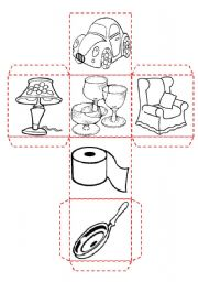 English Worksheet: Household objects and rooms dice � vocabulary worksheet � rooms � objects and appliances � 2 pages � editable
