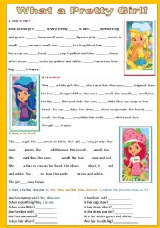 English Worksheets: What a Pretty Girl - 2 pages - editable