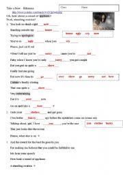 English Worksheets: Take a bow  Rihanna