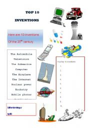 English Worksheets: TOP 10 INVINTIONS