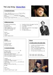 English Worksheets: Bruno Mars - The lazy song