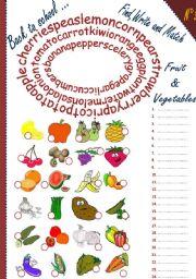 English Worksheet: Back to school:fruit & vegetables