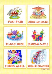 English Worksheets: At the fun-fair - 12 Flashcards  - part 1