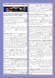 English Worksheet: BACK TO SCHOOL- HOW TO HAVE FUN WHILE STUDYING
