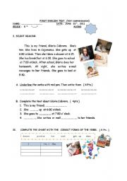 English Worksheets: DAILY ROUTINES ( TEXT COMPREHENSION)