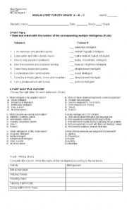 photograph regarding Printable Multiple Intelligences Test known as Several Intelligences consider - ESL worksheet by means of amsalgado30