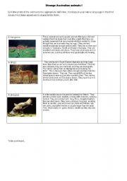 English Worksheets: Strange Ausrtalian Animals : PART 1