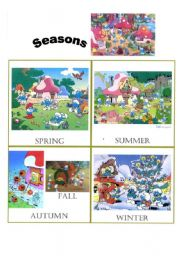 English Worksheet: The Smurfs introduce you the seasons and the weather