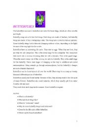 English Worksheets: Butterflies - Reading and Comprehension