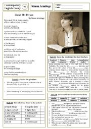 English Worksheet: Contemporary English Poetry 06 - Simon Armitage