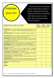 English Worksheets: PERSONAL QUALITIES