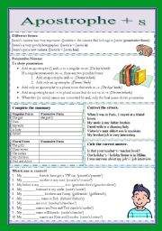 English Worksheet: Apostrophe + s (especially genitive �s)