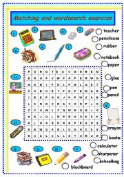 English Worksheet: school objects: matching and wordsearch exercise
