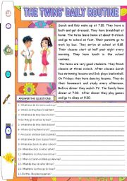 English Worksheets: TWINS� DAILY ROUTINE (READING AND COMPREHENSION)