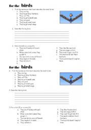 English Worksheet: For the birds