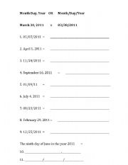 English Worksheet: How to write the date. (Adults)