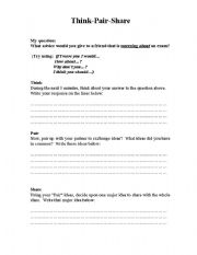 Worksheet Think Pair Share Worksheet english worksheets think pair share worksheet share
