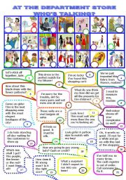 English Worksheet: AT THE DEPARTMENT STORE. WHO�S TALKING?/4