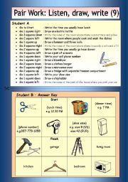 English Worksheets: Pair Work: Listen, draw, write (9)