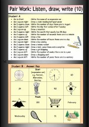 English Worksheets: Pair Work: Listen, draw, write (10)