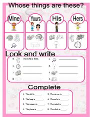 Grammar worksheets > Pronouns > Possessive pronouns