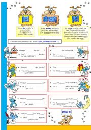 English Worksheets: just, already, yet (Present Perfect with the Smurfs)
